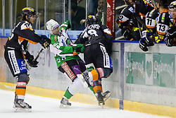 Robert Lembacher (Moser Medical Graz 99ers, #18) vs Andrej Hebar (HDD Tilia Olimpija, #84) during of ice-hockey match between Moser Medical Graz 99ers and HDD Tilia Olimpija in 11th Round of EBEL league, on October 14, 2011 at Eisstadion Graz-Liebenau, Graz, Austria. (Photo By Matic Klansek Velej / Sportida)