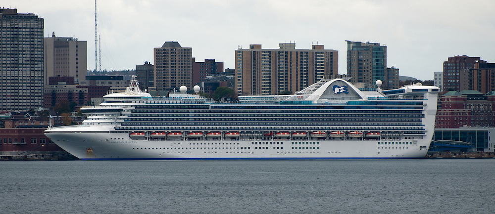 Princess Cruises' Caribbean Pricess docked at Halifax, Nova Scotia on a cloudy autumn day.<br />
