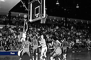 The Lynchburg Baptist College Men's Basketball team plays at Jefferson Forest High School in January, 1976.