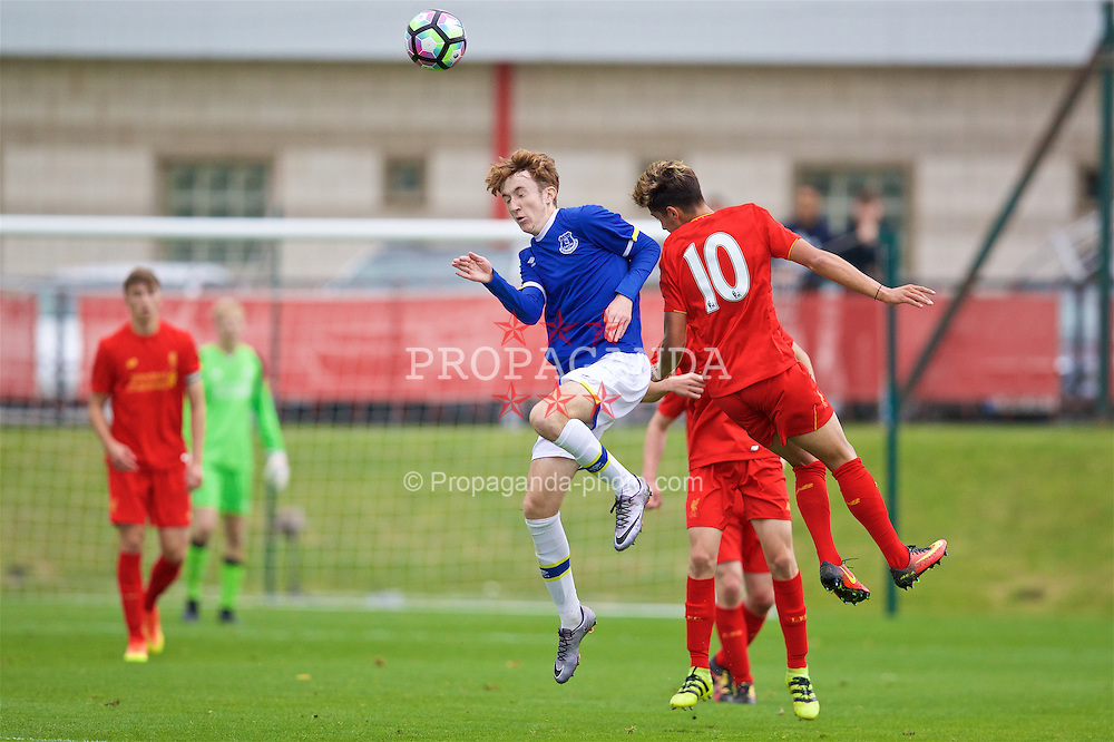 KIRKBY, ENGLAND - Saturday, September 24, 2016: Everton's Jack Kiersey in action against Liverpool during the Under-18 FA Premier League match at the Kirkby Academy. (Pic by David Rawcliffe/Propaganda)