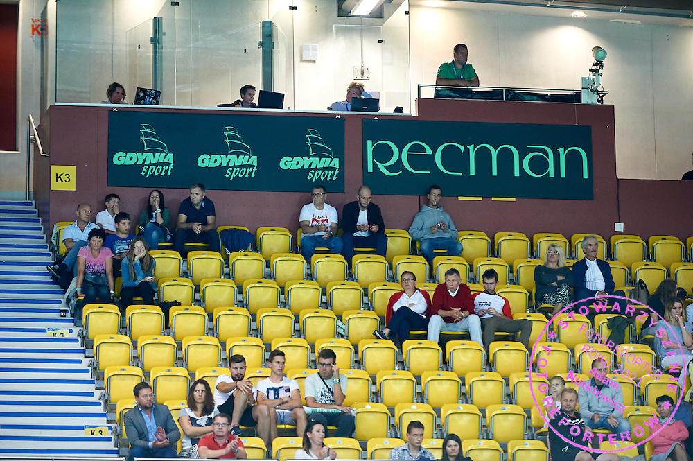 Gdynia Sport CIty advertise and Recman advertise on main tribune during Davis Cup Tie World Group Play-off Poland v Slovakia at Gdynia Arena Hall in Gdynia, Poland.<br /> <br /> Poland, Gdynia, September 18, 2015<br /> <br /> Picture also available in RAW (NEF) or TIFF format on special request.<br /> <br /> For editorial use only. Any commercial or promotional use requires permission.<br /> <br /> Adam Nurkiewicz declares that he has no rights to the image of people at the photographs of his authorship.<br /> <br /> Mandatory credit:<br /> Photo by &copy; Adam Nurkiewicz / Mediasport
