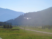 Cessna airplane taking off at Sulphur Creek, Idaho