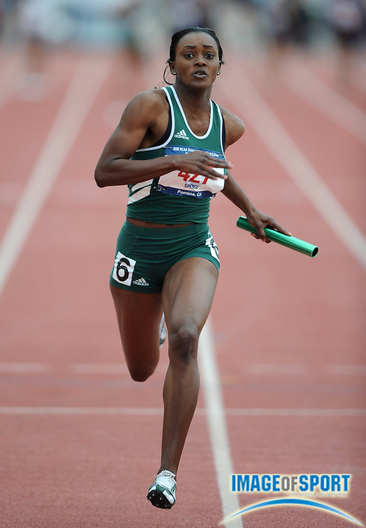 May 24, 2008; Walnut, CA, USA; Indira Spence anchors Adams State to victory in the women's 4 x 100m relay in 45.37 in the NCAA Division II Track & Field Championships at Mt. San Antonio College's Hilmer Lodge Stadium.