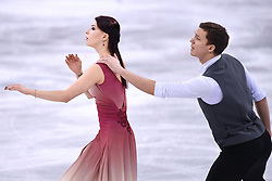 PYEONGCHANG, Feb. 12, 2018  Olympic atheletes from Russia Ekaterina Bobrova (L) and Dmitri Soloviev compete during the ice dance free dance of figure skating team event at the 2018 PyeongChang Winter Olympic Games, in Gangneung Ice Arena, South Korea, on Feb. 12, 2018. Olympic atheletes from Russia  won the silver medal of figure skating team event with 66 points in total. (Credit Image: © Ju Huanzong/Xinhua via ZUMA Wire)