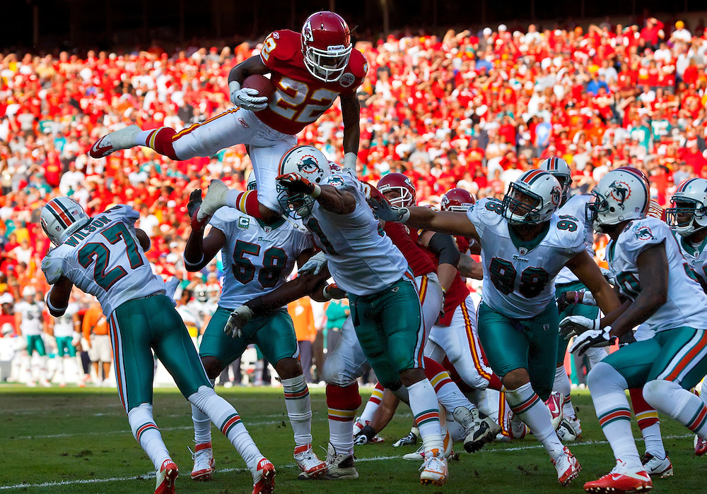Kansas City Chiefs running back Dexter McCluster (22) lept high in the air on a third quarter run against the Miami Dolphins on November 6, 2011 at Arrowhead Stadium in Kansas City, Mo. The Dolphins won thier first game of the season, 31-3, over the Chiefs.