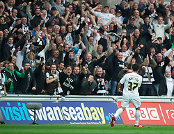 SWANSEA, WALES - Monday, May 15, 2011: Swansea City's Leon Britton celebrates scoring the first goal against Nottingham Forest during the Football League Championship Play-Off Semi-Final 2nd Leg match at the Liberty Stadium. (Photo by David Rawcliffe/Propaganda)