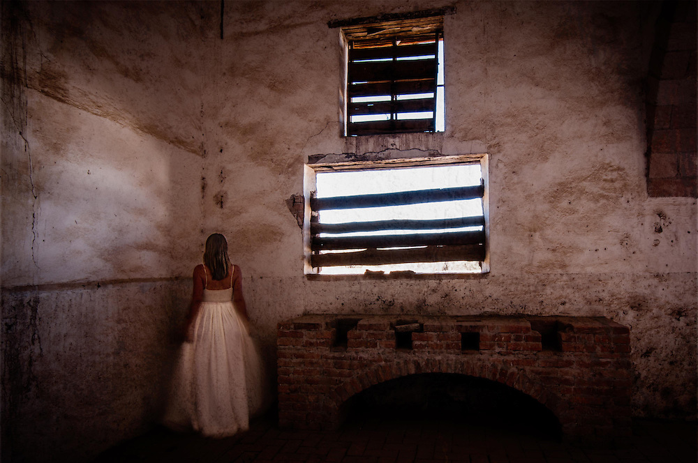 Long exposure self-portrait images of photographer  Janelle Pietrzak aka Explored Exposure taken in Guanajuato, Mexico at the abandoned Ex-Hacienda Jaral de Berrios.