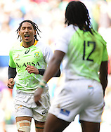 LONDON, ENGLAND - Saturday 10 May 2014, Justin Geduld of South Africa during the match between South Africa and Scotland at the Marriott London Sevens rugby tournament being held at Twickenham Rugby Stadium in London as part of the HSBC Sevens World Series.<br /> Photo by Roger Sedres/ImageSA