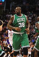 Jan. 28, 2011; Phoenix, AZ, USA; Boston Celtics center Shaquille O'Neal (36) reacts on the court against the Phoenix Suns at the US Airways Center. The Suns defeated the Celtics 88-71. Mandatory Credit: Jennifer Stewart-US PRESSWIRE