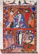 Baptism of Jesus by St John the Baptist (top) and Raising of Lazarus after four days. At feet of Jesus are Martha and Mary, sisters of Lazarus (bottom). After Armenian Evangelistery (1336). Calligraphy and painting by Sarkis Pitsak.