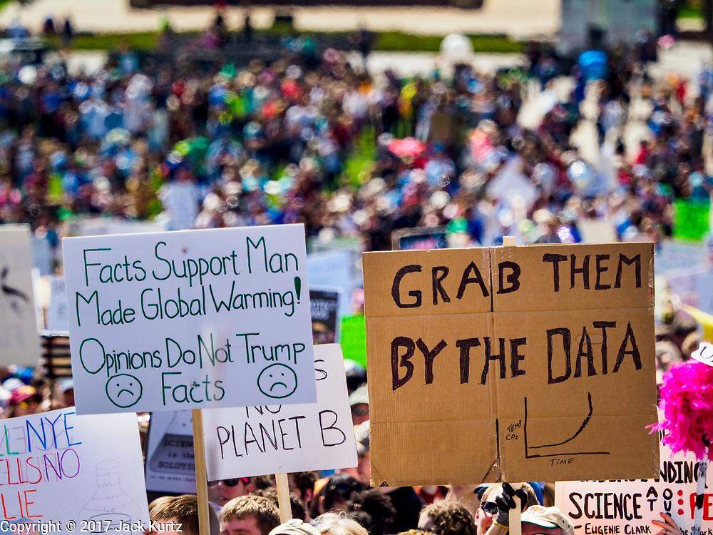 22 APRIL 2017 - ST. PAUL, MN: The crowd on the lawn in front of the Minnesota State Capitol during the March for Science. More than 10,000 people marched from the St. Paul Cathedral to the Minnesota State Capitol in St. Paul during the March for Science. March organizers said the march was non-partisan and was to show support for the sciences, including the sciences behind climate change and vaccines.      PHOTO BY JACK KURTZ