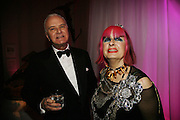 Manolo Blahnik and Zandra Rhodes, The British Fashion Awards  2006 sponsored by Swarovski . Victoria and Albert Museum. 2 November 2006. ONE TIME USE ONLY - DO NOT ARCHIVE  © Copyright Photograph by Dafydd Jones 66 Stockwell Park Rd. London SW9 0DA Tel 020 7733 0108 www.dafjones.com