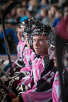 KELOWNA, CANADA - OCTOBER 20: MacKenzie Johnston #22 of the Kelowna Rockets sits on the bench against the  Brandon Wheat Kings at the Kelowna Rockets on October 20, 2012 at Prospera Place in Kelowna, British Columbia, Canada (Photo by Marissa Baecker/Shoot the Breeze) *** Local Caption ***