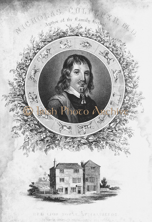 Nicholas Culpepper (1616-1654). English physician, herbalist and astrologer and, bottom, Red Lion House at Spitalfields, London, where he lived. 19th century engraving.