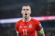 Wales forward Gareth Bale celebrates his goal during the UEFA European 2020 Qualifier match between Wales and Azerbaijan at the Cardiff City Stadium, Cardiff, Wales on 6 September 2019.