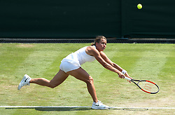Barbora Strycova in action on day five of the Wimbledon Championships at the All England Lawn Tennis and Croquet Club, Wimbledon.
