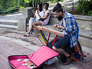 Hammer dulcimer player at Bethesda Terrace in Central Park