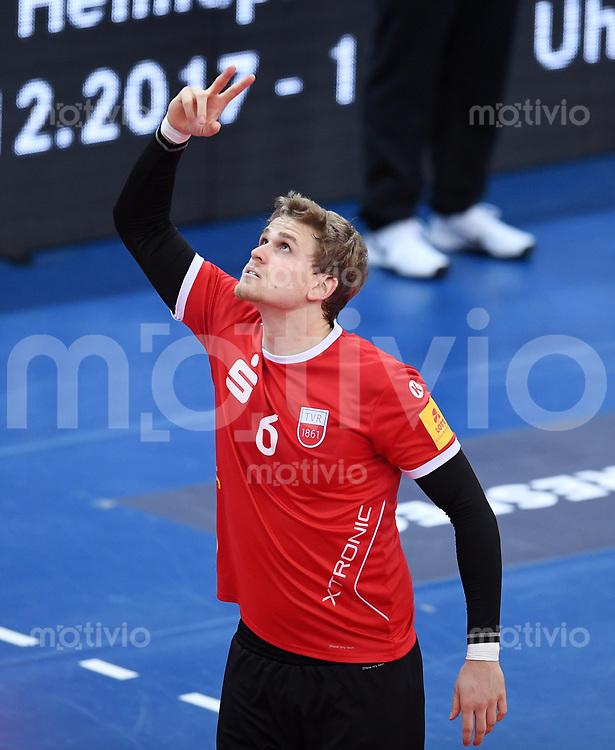 Volleyball 1. Bundesliga  Saison 2017/2018 TV Rottenburg - Volley Bisons Buehl       11.11.2017 Friederich Nagel  (TV Rottenburg) jubelt