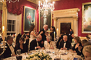 MAGGI HAMBLING; PROFESSOR MIKHAIL PIOTROVSKY; HANNAH ROTHSCHILD, Professor Mikhail Piotrovsky Director of the State Hermitage Museum, St. Petersburg and <br /> Inna Bazhenova Founder of In Artibus and the new owner of the Art Newspaper worldwide<br /> host THE HERMITAGE FOUNDATION GALA BANQUET<br /> GALA DINNER <br /> Spencer House, St. James's Place, London<br /> 15 April 2015