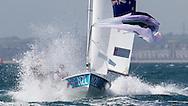 ENGLAND, Weymouth. 2nd August 2012. Olympic Games. Men's 470 class. Paul Snow-Hansen (NZL) Skipper, Jason Saunders (NZL) Crew.