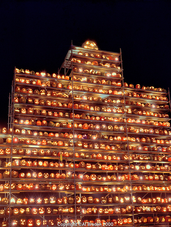 Jack o lantern tower at Railroad Square, Keene Pumpkin Festival.