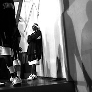 Ryan Skinner and his Salem Stampede teammates focus as they walk to the floor to begin the second half of a game in April. Photographed April 30, 2006. (Thomas Patterson / Statesman Journal)