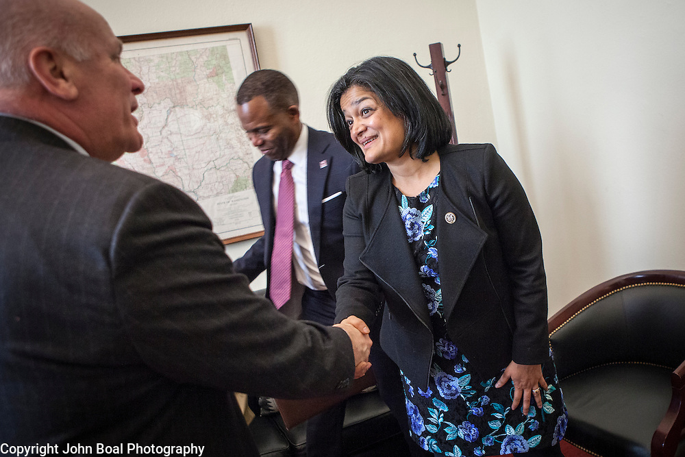 Representative Pramila Jayapal (D-WA, 7), thanks Larry Probus, after a meeting with the National Association of Independent Colleges and Universities, on Tuesday, January 31, 2017.  The meeting was one of four 30-minute meetings with constituent advocacy groups during the day.  John Boal photo/for The Stranger