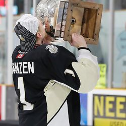TRENTON, ON  - MAY 6,  2017: Canadian Junior Hockey League, Central Canadian Jr. &quot;A&quot; Championship. The Dudley Hewitt Cup Championship Game between The Trenton Golden Hawks and The Georgetown Raiders. Chris Janzen #1 of the Trenton Golden Hawks during post game celebrations. <br /> (Photo by Amy Deroche / OJHL Images)