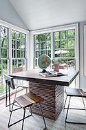 Stamford home, family room. Interior design by Jeffrey Kilmer Design.