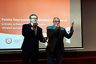 Warsaw, Poland - 2017 March 12: (L) Zbigniew Hajzer and (R) Michal Olszanski Special Olympics Ambassadors speak while Nomination Ceremony of Special Olympics Polish National Team before the Special Olympics World Winter Games Austria  2017 at Marriott Hotel on March 12, 2017 in Warsaw, Poland.<br /> <br /> Mandatory credit:<br /> Photo by © Adam Nurkiewicz / Mediasport<br /> <br /> Adam Nurkiewicz declares that he has no rights to the image of people at the photographs of his authorship.<br /> <br /> Picture also available in RAW (NEF) or TIFF format on special request.<br /> <br /> Any editorial, commercial or promotional use requires written permission from the author of image.<br /> <br /> Image can be used in the press when the method of use and the signature does not hurt people on the picture.