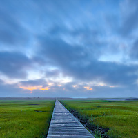 Cape Cod Calmness - Cape Cod fine art photography of the iconic Sandwich Boardwalk on a foggy morning in Sandwich, MA.<br />