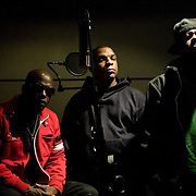 The hip-hop group Naughty By Nature, originally of East Orange, New Jersey, is photographed at the Pulse Music recording studio in New York City on December 5, 2011. Pictured are, from left, Treach, Vin Rock and DJ Kay Gee. ...photo by Angela Jimenez/ for The Star-Ledger ....