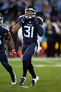 Tennessee Titans free safety Kevin Byard (31) celebrates after making a first quarter sack for a loss of 8 yards to the Jacksonville Jaguars 32 yard line during the week 14 regular season NFL football game against the Jacksonville Jaguars on Thursday, Dec. 6, 2018 in Nashville, Tenn. The Titans won the game 30-9. (©Paul Anthony Spinelli)