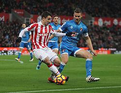 Bojan Krkic of Stoke City (L) and Simon Francis of Bournemouth in action - Mandatory by-line: Jack Phillips/JMP - 19/11/2016 - FOOTBALL - Bet365 Stadium - Stoke-on-Trent, England - Stoke City v Bournemouth - Premier League