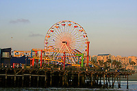 A view of the Santa Monica Pier ferris wheel in Santa Monica ,California. A place of fun and enjoyment for tourist and local people alike.