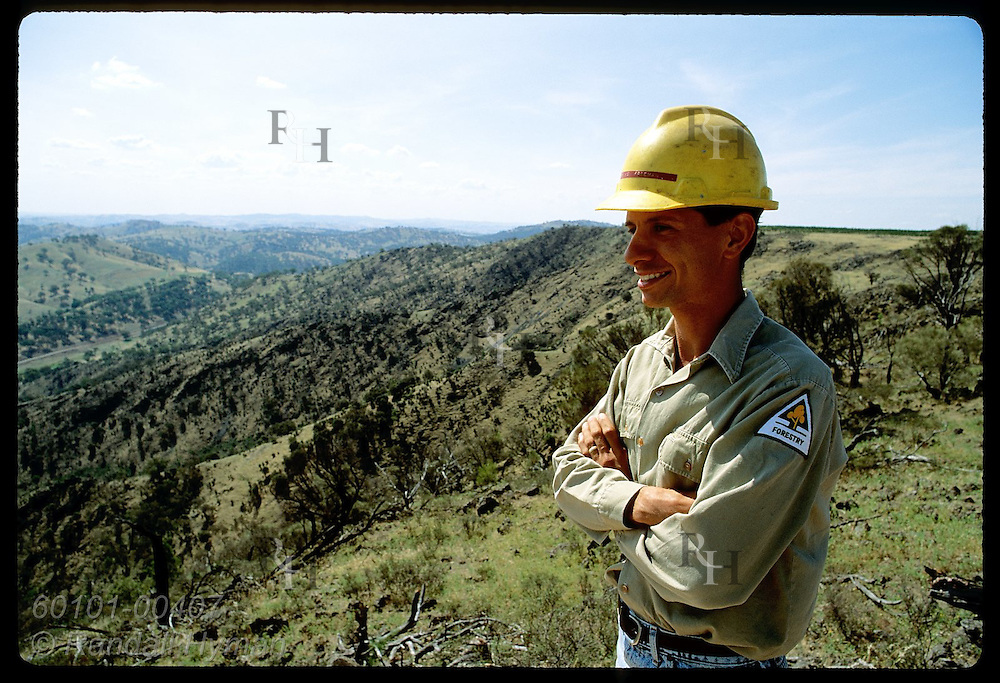 Forester Mike Freeman gazes across Honeysuckle Range on a summer day; Tumut District, NSW. Australia