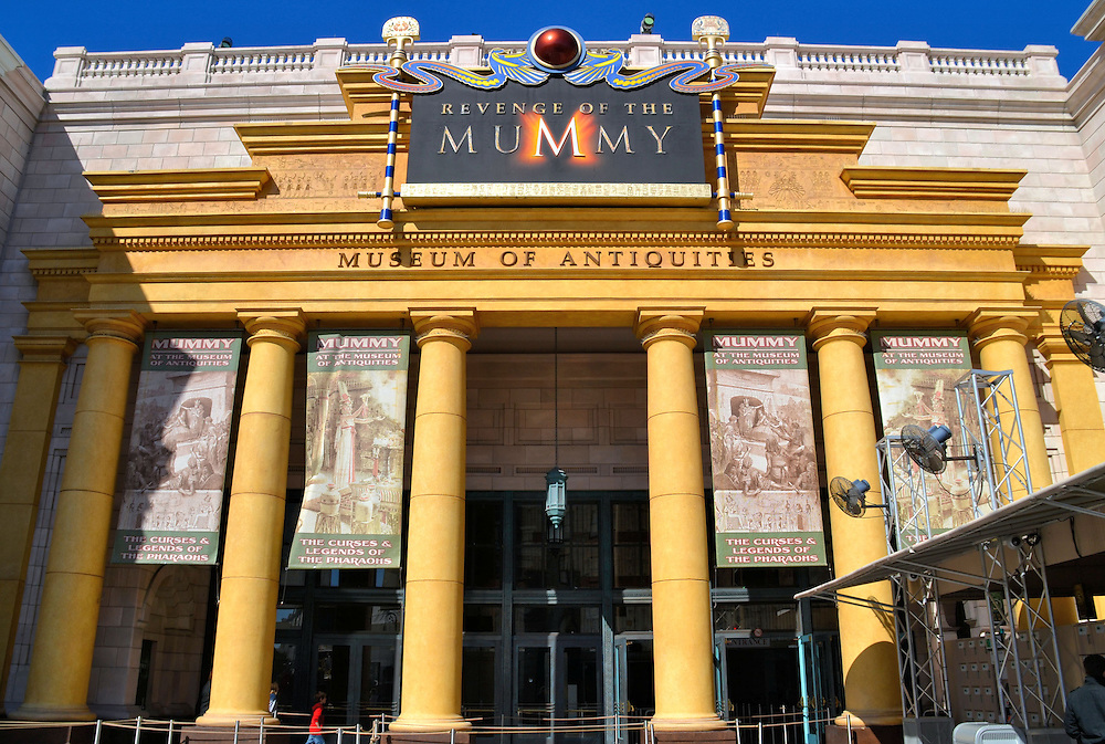 Revenge of the Mummy Ride at Universal in Orlando, Florida<br /> Pass beneath this portico at your peril because you are about to enter the Revenge of the Mummy ride based on &ldquo;The Mummy&rdquo; films. You&rsquo;ll be strapped into a mining car and during a three-minute adventure you&rsquo;ll traverse a 2,200 foot track at up to 45 miles an hour.  If you enjoy dark rollercoasters, you&rsquo;ll have a screaming good time.
