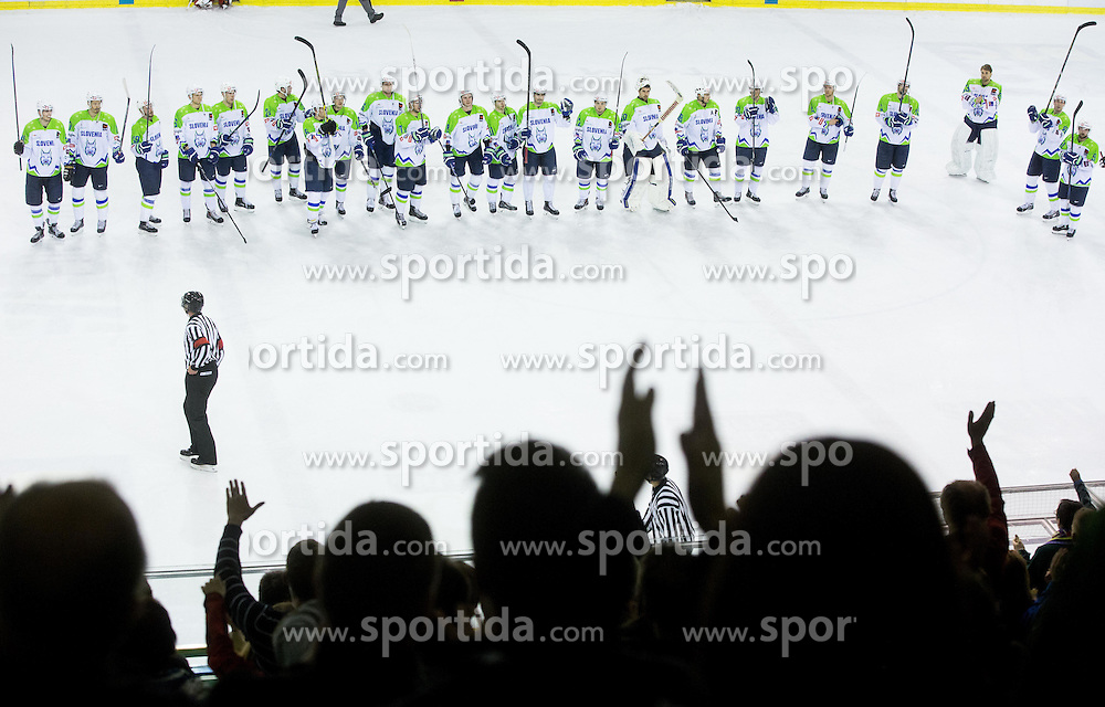 Players of Slovenia celebrate after the ice-hockey friendly match between National teams of Slovenia and Austria, on April 19, 2015 in Hala Tivoli, Ljubljana, Slovenia. Photo by Vid Ponikvar / Sportida