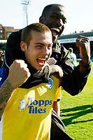 Coca-Cola League One - Southend United vs. Leicester City<br /> Leicester City's Joe Mattock (yellow) and Chris Powell celebrate Leicester City's League One title win at Roots Hall.<br /> Credit: Colorsport/ Garry Bowden