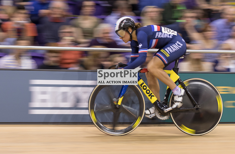 Melissandre Pain (France) during the UCI Sprint – Qualification 200m Time Trial – Women.  Revolution 55 Track Cycling Glasgow, 28th November 2015