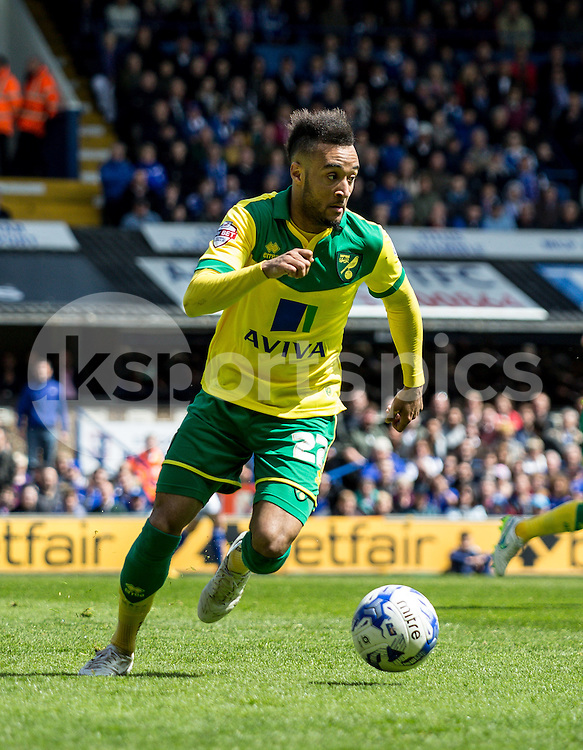 Nathan Redmond of Norwich City during the Sky Bet Championship Play Off 1st Leg match between Ipswich Town and Norwich City at Portman Road, Ipswich, England on 9 May 2015. Photo by Liam McAvoy.