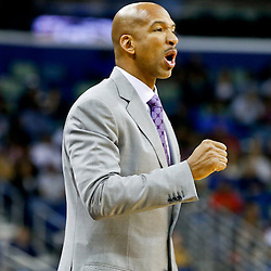 Dec 4, 2013; New Orleans, LA, USA; New Orleans Pelicans head coach Monty Williams against the Dallas Mavericks during the second quarter of a game at New Orleans Arena. Mandatory Credit: Derick E. Hingle-USA TODAY Sports