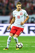 Warsaw, Poland - 2017 September 04: Jan Bednarek from Poland controls the ball during soccer match Poland v Kazakhstan - FIFA 2018 World Cup Qualifier at PGE National Stadium on September 04, 2017 in Warsaw, Poland.<br /> <br /> Adam Nurkiewicz declares that he has no rights to the image of people at the photographs of his authorship.<br /> <br /> Picture also available in RAW (NEF) or TIFF format on special request.<br /> <br /> Any editorial, commercial or promotional use requires written permission from the author of image.<br /> <br /> Mandatory credit:<br /> Photo by &copy; Adam Nurkiewicz / Mediasport