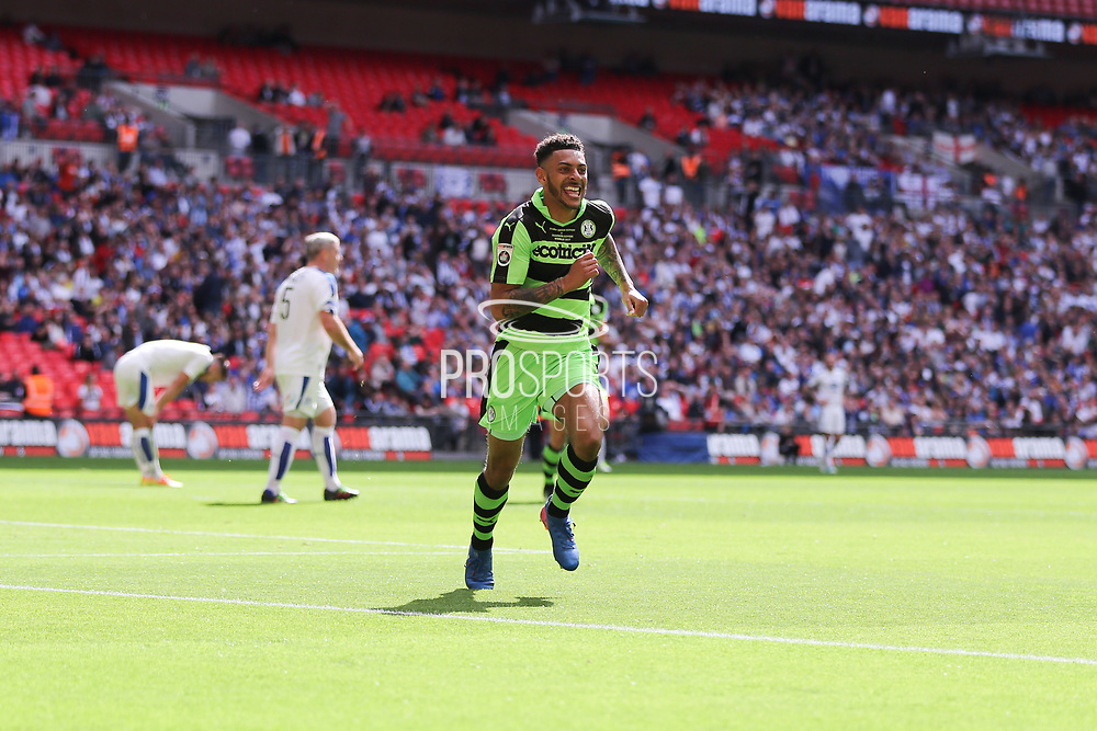 Forest Green Rovers Kaiyne Woolery(14) scores a goal 3-1and celebrates during the Vanarama National League Play Off Final match between Tranmere Rovers and Forest Green Rovers at Wembley Stadium, London, England on 14 May 2017. Photo by Shane Healey.