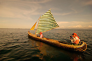 Kuna natives sailing at El Porvenir area, San Blas Archipelago,Panama C.A.