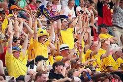 28.06.2011, FIFA Frauen-WM-Stadion Leverkusen, Leverkusen, GER, FIFA Women Worldcup 2011, Gruppe C, Kolumbien (COL) vs. Schweden (SWE), im Bild:  Schweden Fans bei der Laola   // during the FIFA Women´s Worldcup 2011, Pool C, Colombia vs Sweden on 2011/06/28, FIFA Frauen-WM-Stadion Leverkusen, Leverkusen, Germany.   EXPA Pictures © 2011, PhotoCredit: EXPA/ nph/  Mueller *** Local Caption ***       ****** out of GER / CRO  / BEL ******