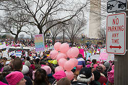 Washington, D.C. January 21, 2017 - Women's March on D.C.. The Women's March in Washington D.C. was a protest on January 21, 2017 to advocate for human rights, women's rights, LBGQT rights, immigration reform, healthcare reform, reproductive rights, environmental concerns, racial equality, and freedom of religion, among others. With the inauguration of 45th United States President Donald Trump this march was in direct reaction to the actions of Trump.