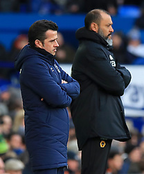 Everton manager Marco Silva (left) and Wolverhampton Wanderers manager Nuno Espirito Santo on the touchline during the Premier League match at Goodison Park, Liverpool.