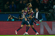 Paris Saint Germain's Brazilian forward Neymar Jr celebrates with Paris Saint Germain's Brazilian defender Dani Alves and Paris Saint Germain's French forward Kylian Mbappe during the UEFA Champions League, Group B football match between Paris Saint-Germain and Bayern Munich on September 27, 2017 at the Parc des Princes stadium in Paris, France - Photo Benjamin Cremel / ProSportsImages / DPPI