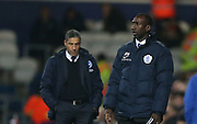 Queens Park Rangers manager Jimmy Floyd Hasselbaink and Brighton Manager, Chris Hughton during the Sky Bet Championship match between Queens Park Rangers and Brighton and Hove Albion at the Loftus Road Stadium, London, England on 15 December 2015.